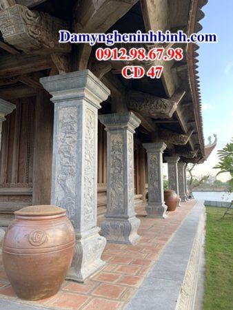 Cột đồng trụ đá vuông nhà thờ họ CD 47