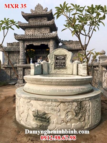 Lăng mộ đá tròn xanh rêu nguyên khối Ninh Bình 35
