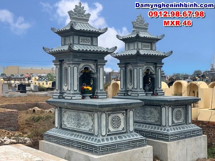 Lăng mộ đá xanh rêu Ninh Bình hai mái đẹp MXR 46