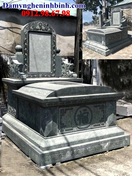 Mẫu mộ đá hậu bành khối xanh rêu Thanh Hóa đẹp 22