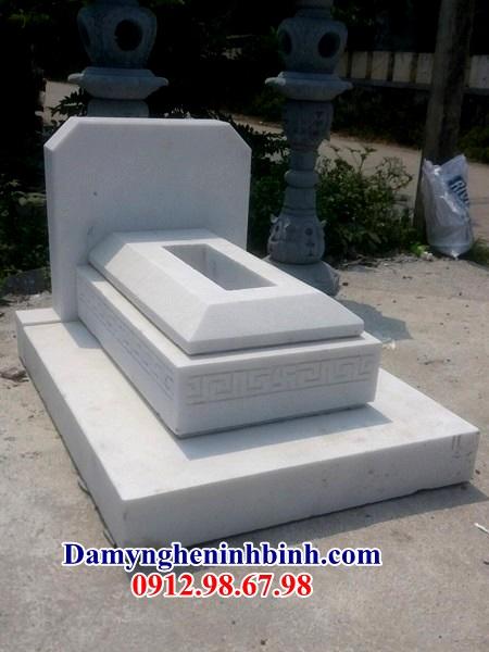 Mẫu mộ đá trắng khối đơn giản 03