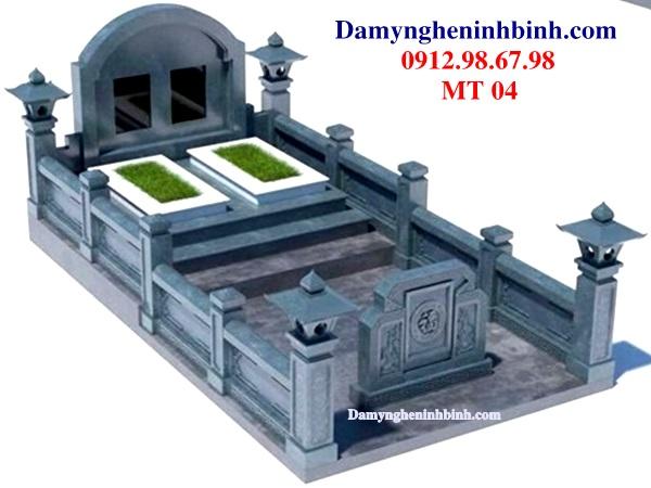 Mẫu mộ tổ đá xanh khối dòng họ 04