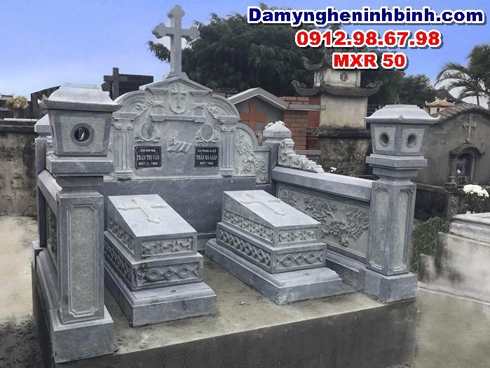 mộ đá xanh rêu công giáo thanh hóa mxr 50