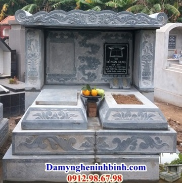 mộ đôi chất liệu đá xanh Thanh hóa