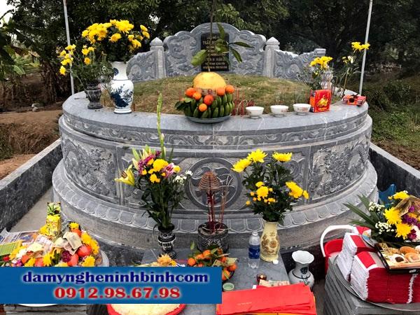 Mẫu mộ xây đẹp bằng đá tròn